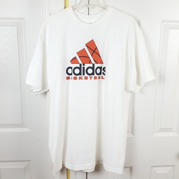 5ce59e92b3 Adidas Basketball White Graphic Tee Shirt Large NWT